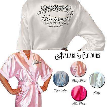 Kimono/bata personalizada (raso), diseño personalizado para bodas, de Inspiredcreativedesign,