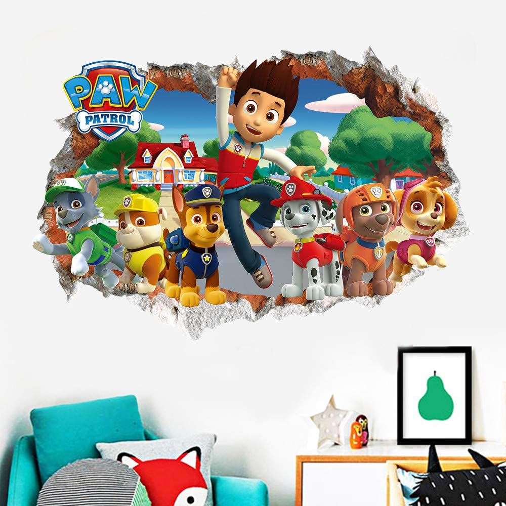 HU SHA Paw Patrol Wall Stickers Cartoon Dogs Removable Wall Decals Kids Baby Nursery Child Home Decor Mural Wall Sticker Decal (19.7 x 27.6 inch Size)