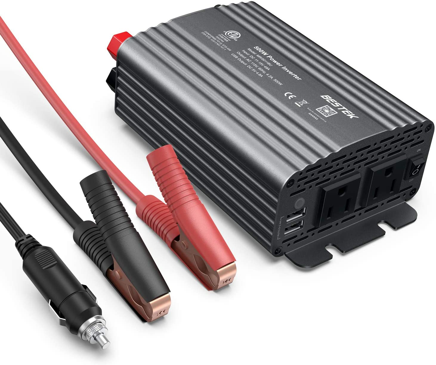 BESTEK 500W Power Inverter DC 12V to 110V AC Converter with 4.8A Dual USB Car Charger ETL Listed (Grey)