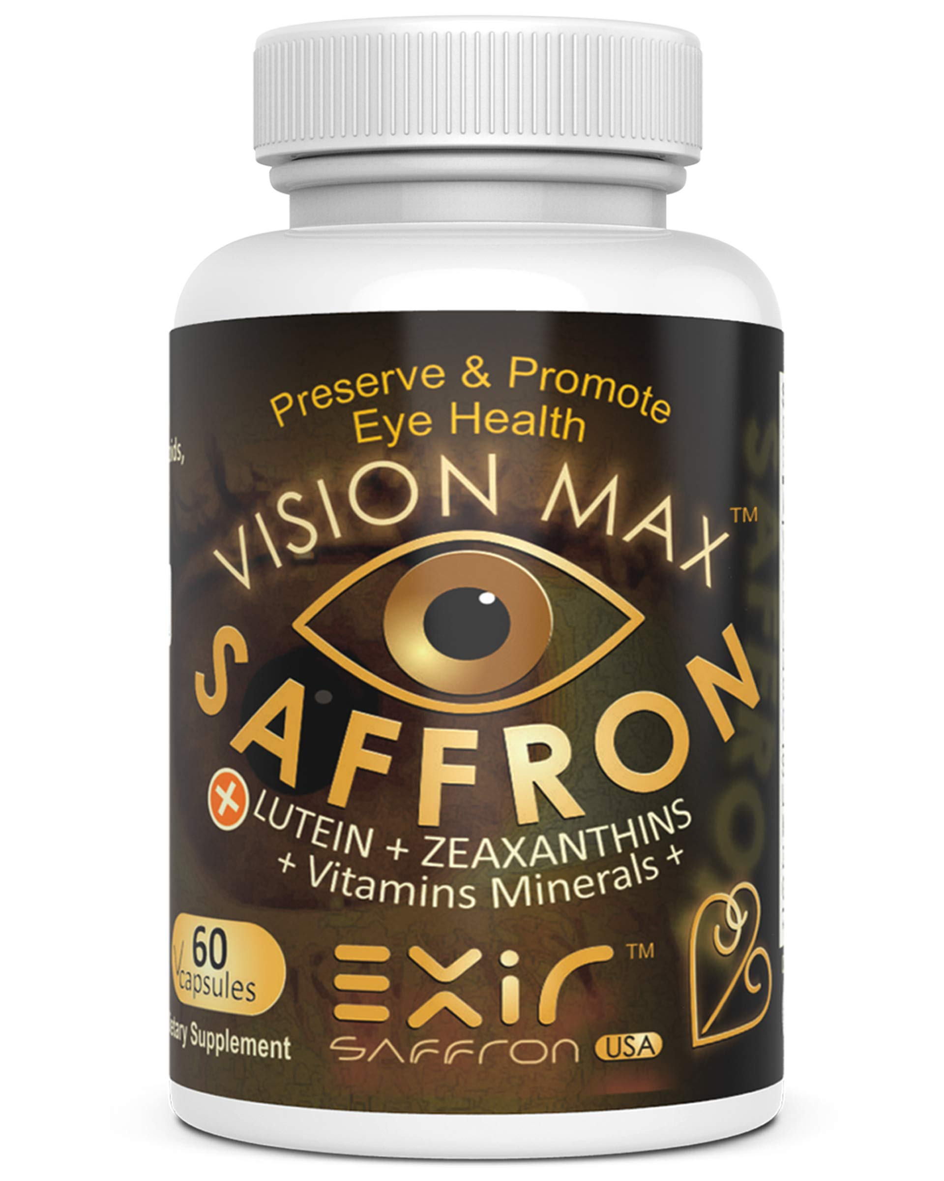 Vision MaxTM Saffron + Zeaxanthin Meso-Zeaxanthin Lutein Grape Seed Extract Plus AREDS2 Vitamin Minerals 60-Capsules | Potent Unique Eye & Vision Supplement
