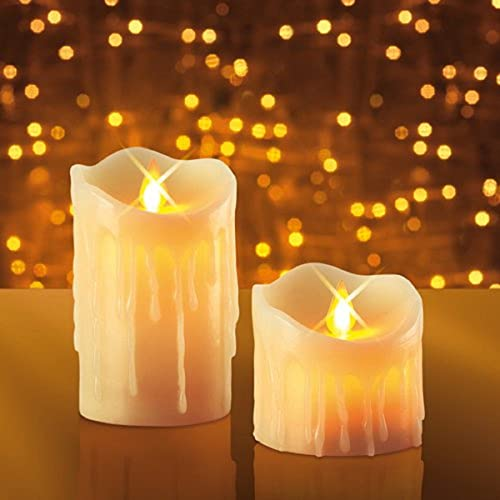 JML Miracle Flame Candles - Real Wax Flameless LED Flickering Light Set of 2 & 3 LED Flickering Wax Candles Flame-less Mood Lights w/ Remote ...