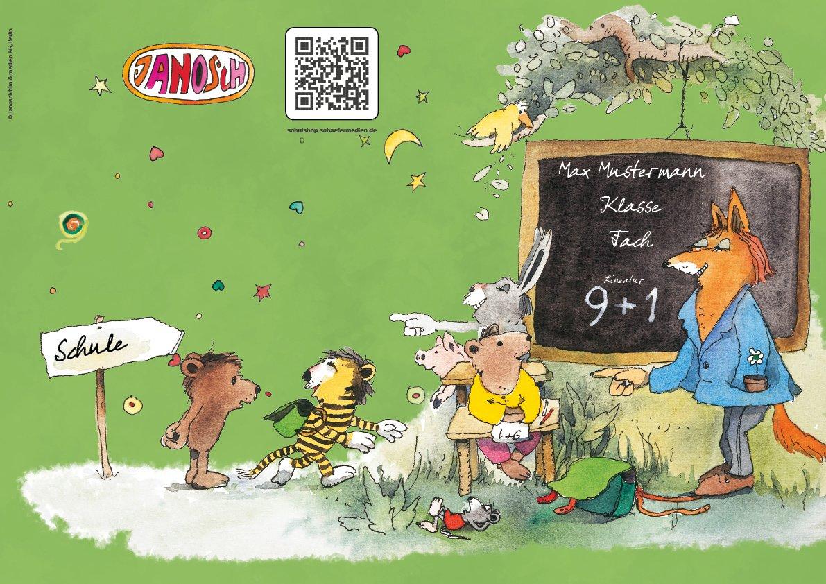 24 lustige JANOSCH-Schulhefte A4, »Fröhliche Schulstunde«, Lineatur 27, MandarinOrange, personalisierbar, 32 Seiten B076Q4X9DH | Neuer Eintrag