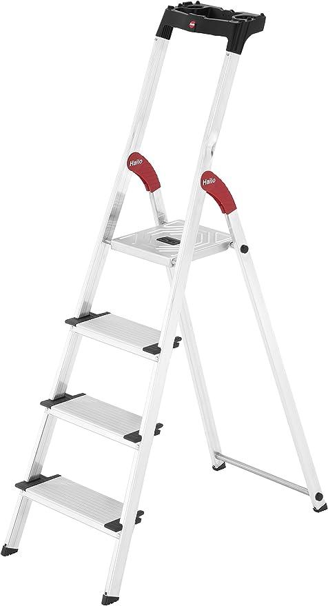 statische Belastbarkeit 150 kg GLT04BK Aluleiter mit 12 cm breiten Stufen Klappleiter mit Anti-Rutsch-F/ü/ßen SONGMICS Leiter 4 Stufen max Stehleiter mit Werkzeugschale