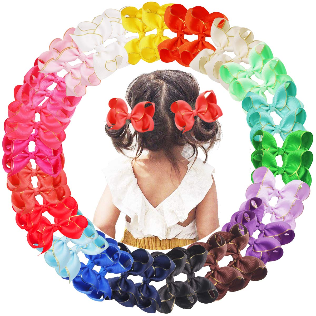 40PCS Baby Girls Hair Bow Clips Gold Edge Grosgrain Ribbon 4.5 Inch Hair Bows Alligator Hair Clips Hair Accessories for Girls Toddlers Kids Children in Pairs