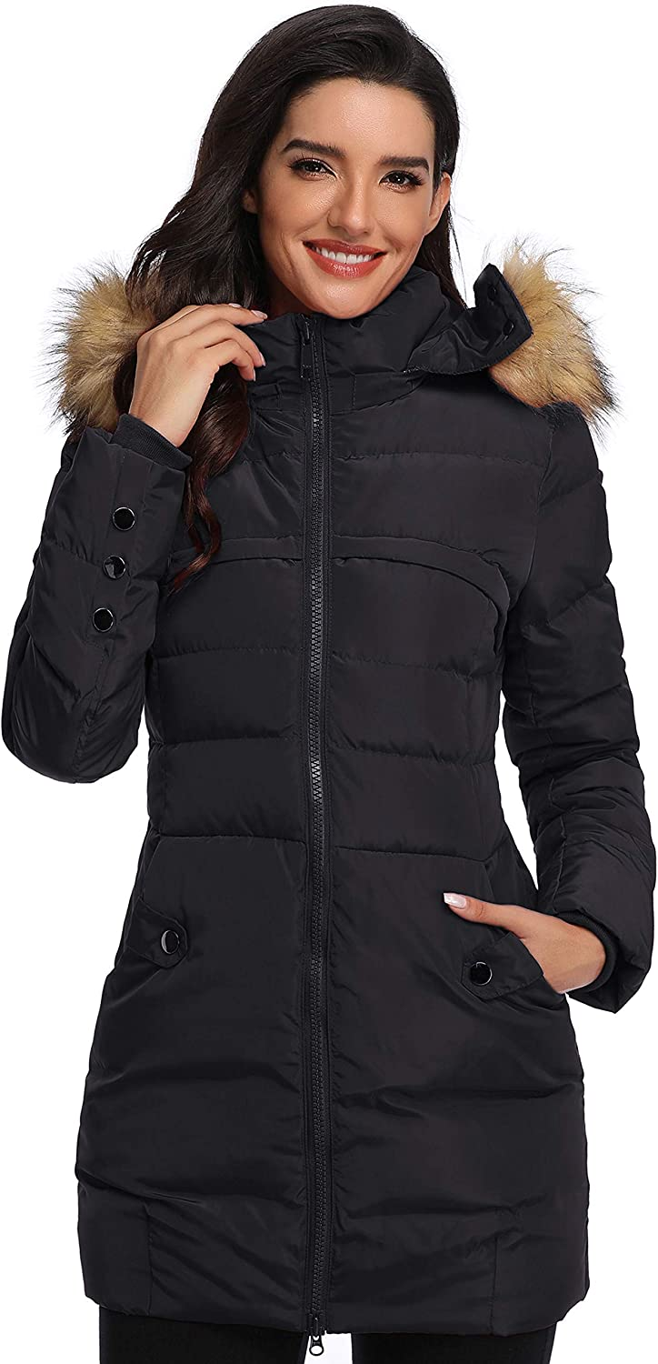 Epsion Women's Hooded Thickened Long Down Jacket Winter Down Parka Puffer Jacket: Clothing