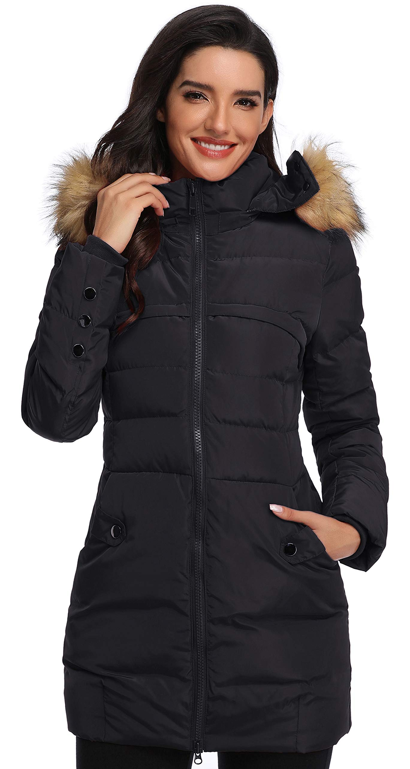 Epsion Women's Hooded Thickened Long Down Jacket Winter Down Parka Puffer Jacket (Black, XS) by Epsion