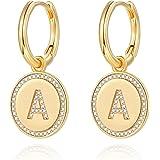 Dangle Initial Earrings for Women, 14K Gold Plated 925 Sterling Silver Post Tiny Cute Dainty Small Huggie Hoop Earrings…