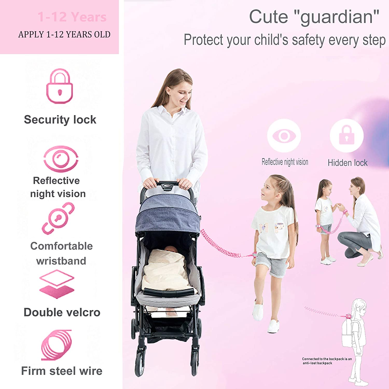 Anti Lost Wrist Link with Induction Lock,Night Reflective Toddler Safety Harnesses Leashes,Babies /& Kids Pink and Cyan