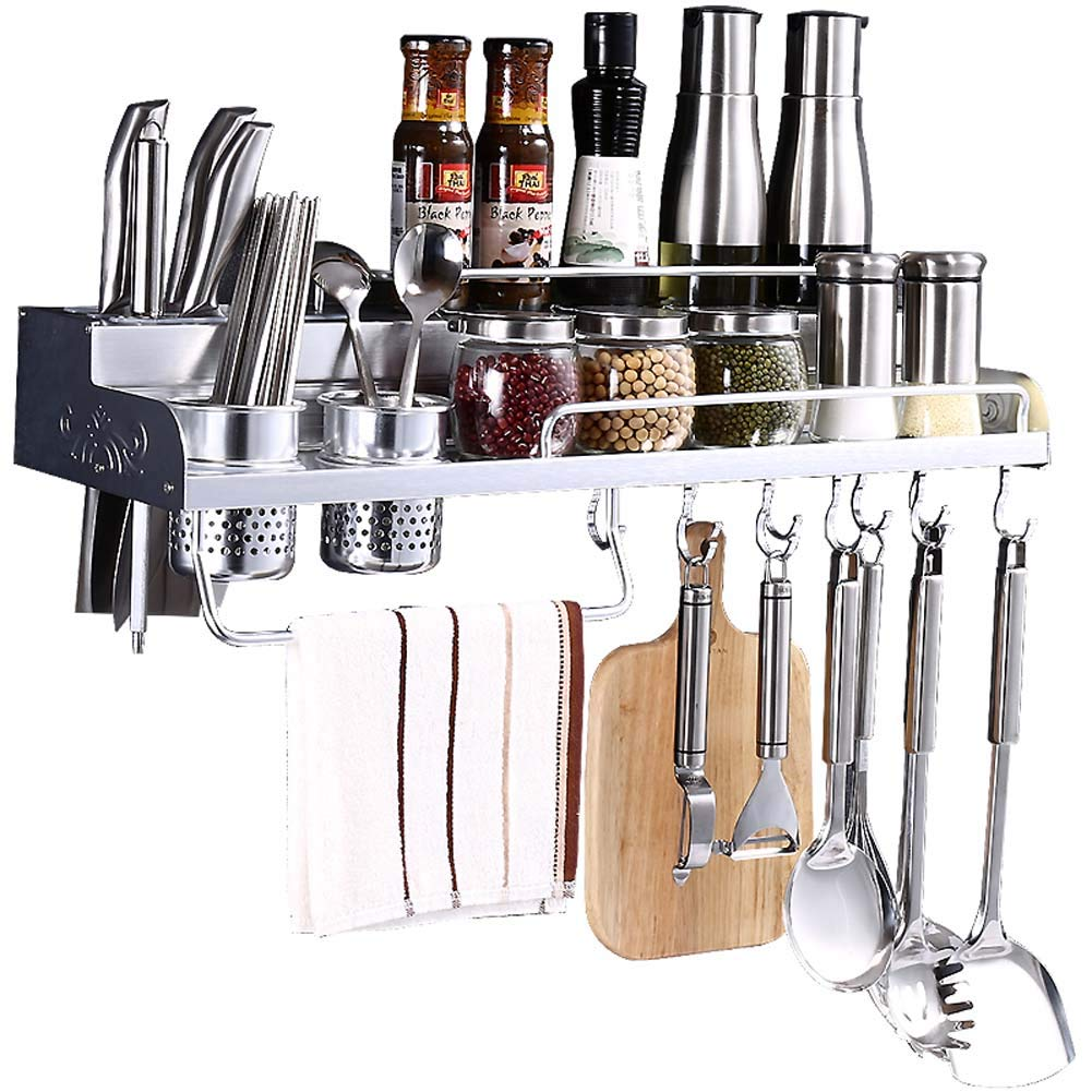 Wall-Mounted Spice Rack, Kitchen Counter Storage Rack, for Seasoning Jar, Kitchen Knife, Knife and Fork 60×21.5×9cm