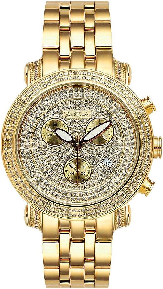 Joe Rodeo del diamante del reloj del cuarzo de los hombres - de oro clásico 3,5 ctw