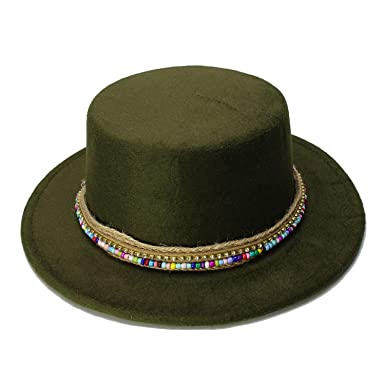 cd7bf77f9cc DOSOMI Women Men Vintage 100% Wool Wide Brim Cap Pork Pie Bowler Hat Bead  Knit