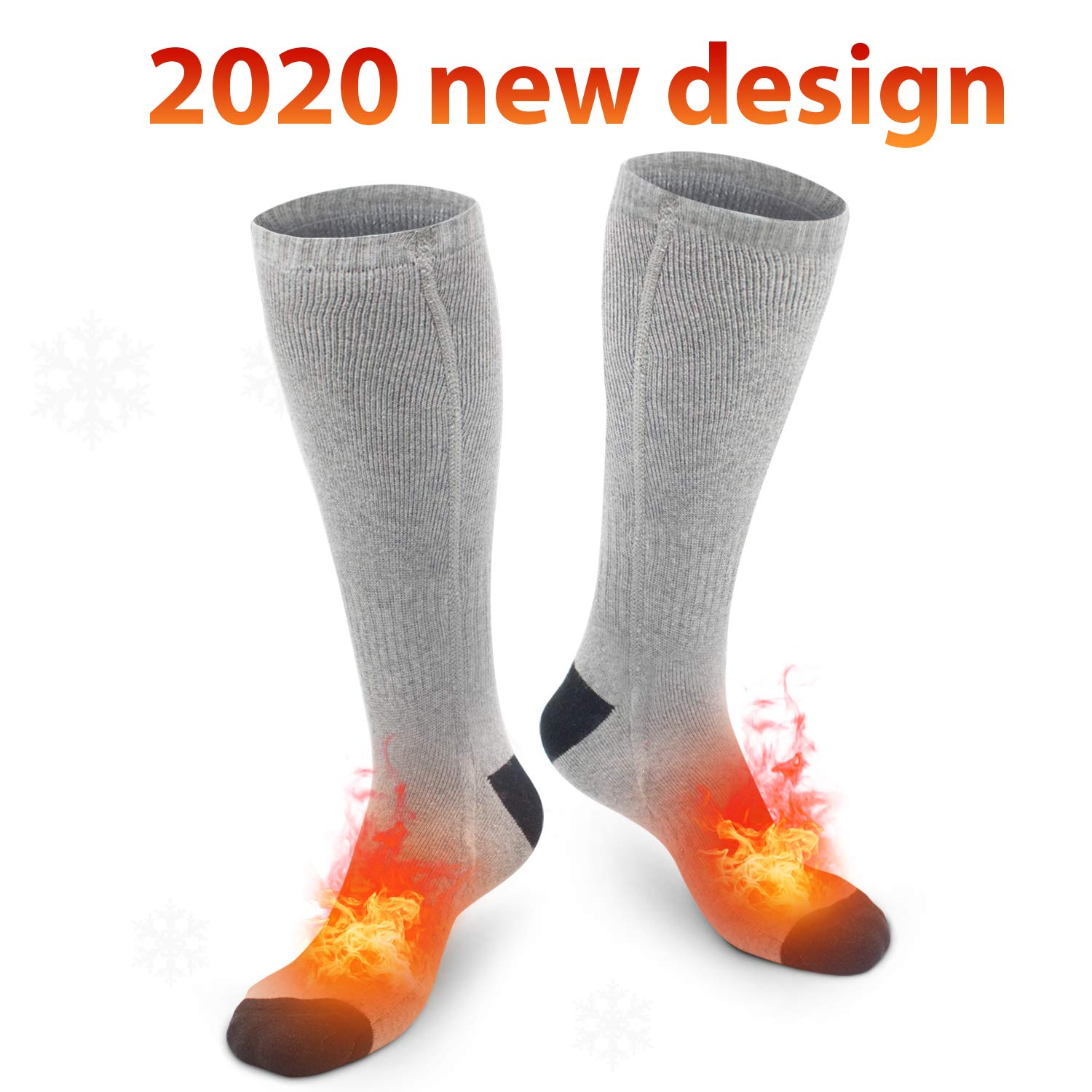 XBUTY Heated Socks for Women Men, Rechargeable Electric Socks Battery Heated Socks, Cold Weather Thermal Socks Sport Outdoor Camping Hiking Warm Winter Socks(Gray by XBUTY