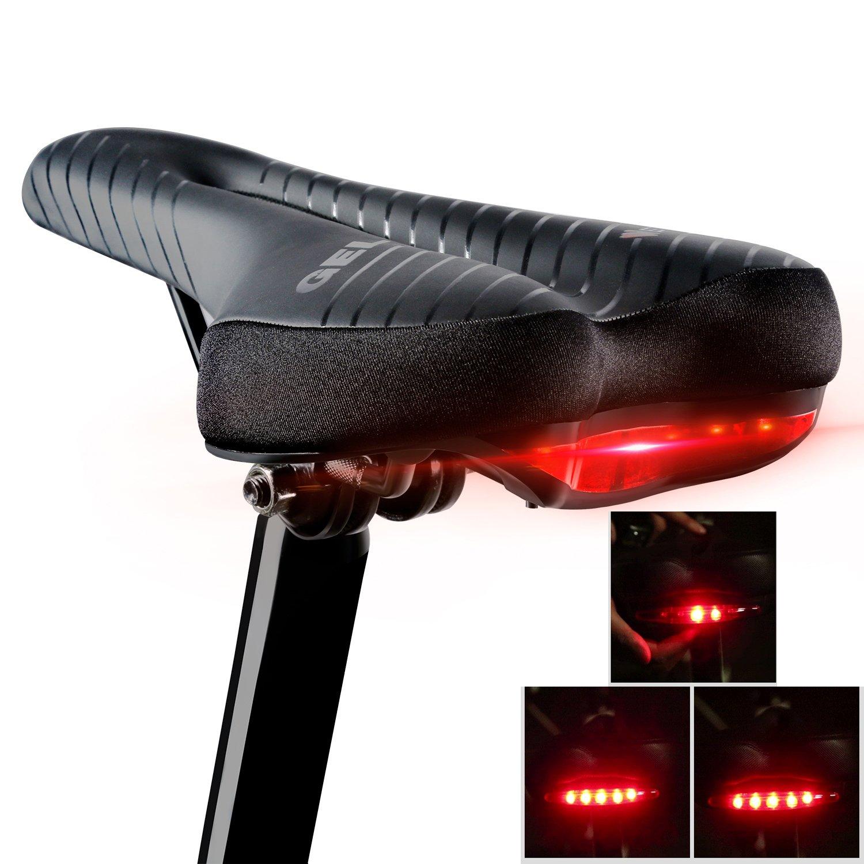 快適自転車座席を組み込みTail Light forメンズレディース, West Biking防水ソフトジェル練習自転車サドルfor Mountain Roadハイブリッドサイクリング B07B7GJ59H グリーン グリーン