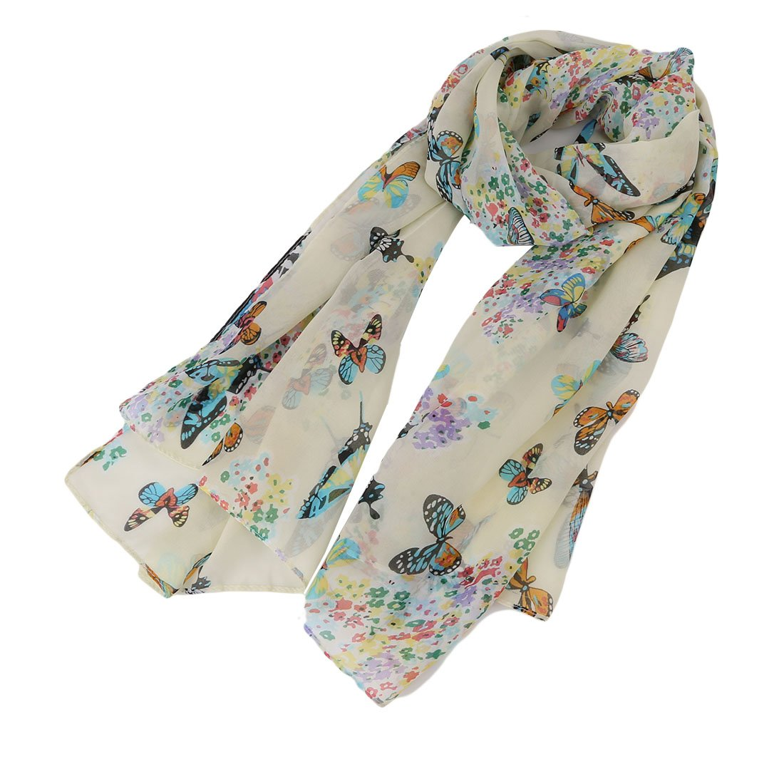 Lalang Women Lady Chiffon Butterfly Print Scarf Neck Soft Scarves