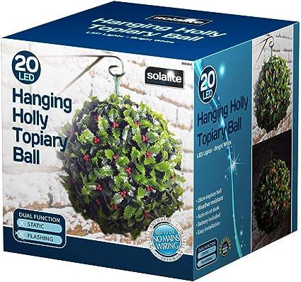 Gardman Holly Effect Topiary Ball Garden Home Christmas Decoration 02820 30cm