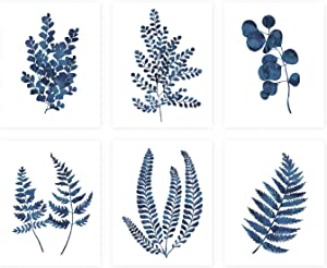Pink Pixie Studio Blue Ink Botanical Fern Eucalyptus Foliage Prints Set of 6-5 x 7 UNFRAMED Watercolor Indigo Leaf Wall Art Canvas Posters Painting Home Office Decor