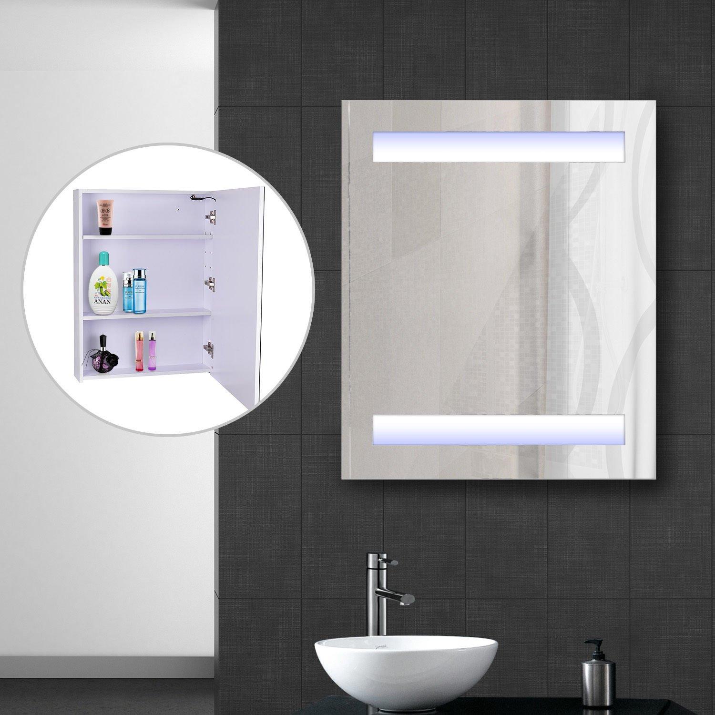 """Amazon.com: HomCom 32"""" LED Single Door Bathroom Mirror Medicine ..."""
