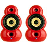 Scandyna Smallpod Active Designer Bookshelf Stereo Speakers with Bluetooth - Red