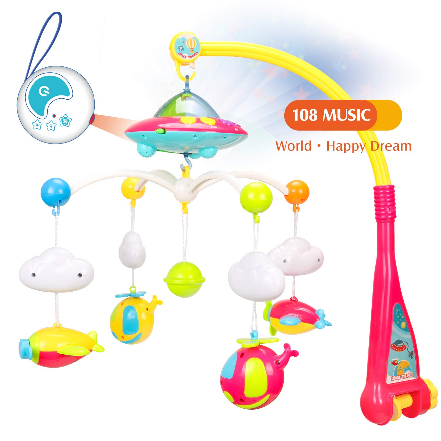 EXERCISE N PLAY Baby Mobiles, Crib Musical Mobiles, Nursery Bed Bell with Lights and Music, Bed Decoration Toy Hanging Rotating Rattles Toy for Infant Newborn Sleep by EXERCISE N PLAY