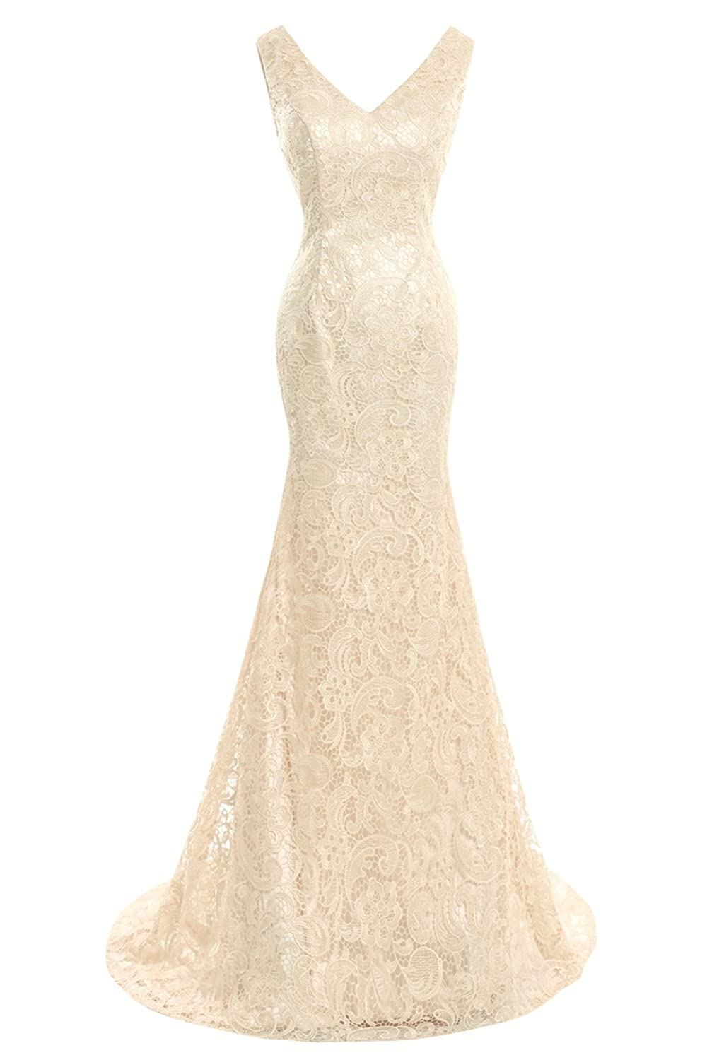 Champagne Bess Bridal Women's Double V Neck Lace Mermaid Formal Prom Evening Dresses