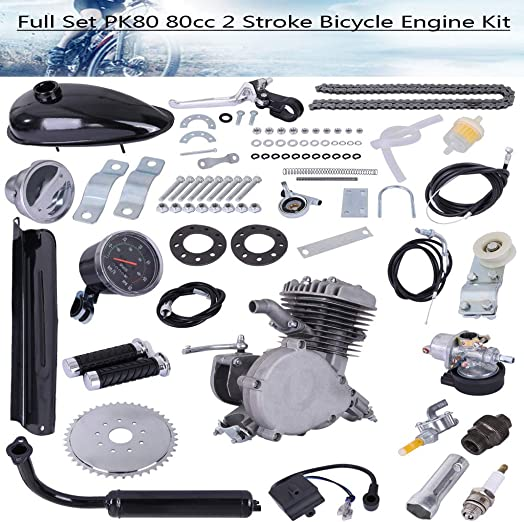 PK80 80cc Bicycle Engine Kit, 2-Stroke Gas Motorized Bike Motor Kit Upgrade with Speedoemter for 26 and 28 Bikes