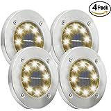 Maggift Solar Ground Lights, 8 LED Garden Pathway Outdoor In-Ground Lights, 4 Pack (Warm White)