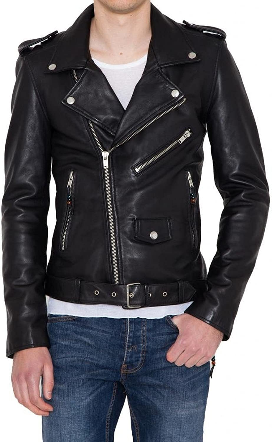New Mens Genuine Lambskin Leather Slim Fit Biker Motorcycle Jacket for Men T462