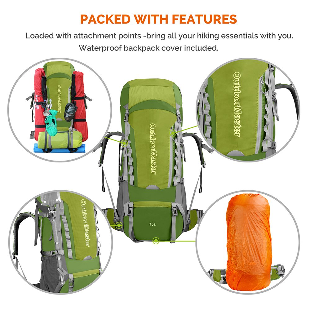 ef105516e3 Amazon.com   OutdoorMaster 70L + 5L Hiking Backpack - Internal Frame  Waterproof Cover (Green)   Sports   Outdoors