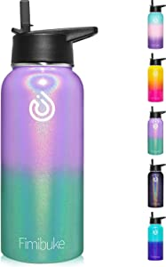 32 oz Insulated Water Bottle, BPA-Free MetalWaterBottle with 2 Lids(Straw Lid+Spout Lid) Sweat-free & Leak Proof 18/8 Stainless Steel Double Wall Vacuum Hot/Cold WaterBottle for Men Women