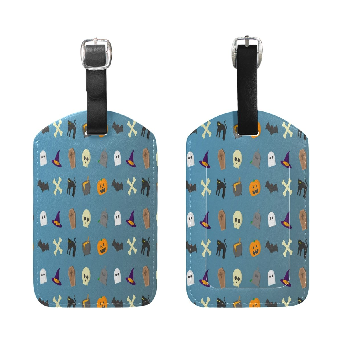1Pcs Saobao Travel Luggage Tag Halloween Style Skull And Pumpkin PU Leather Baggage Suitcase Travel ID Bag Tag
