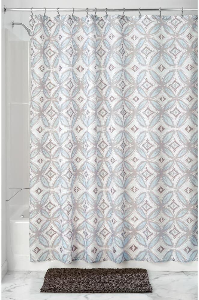 InterDesign Vintage Tile SC Cortina de ducha , Cortinas de baño de diseño en tela con ojales , Cortinas para baño de 183,0 cm x 183,0 cm con estampado , Poliéster gris topo/azul