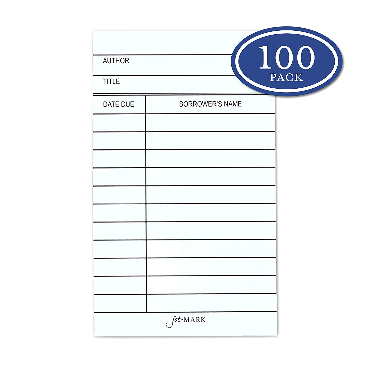 Jot & Mark Library Due Date Note Cards | Checkout Catalog Book Cards (100  cards per pack)