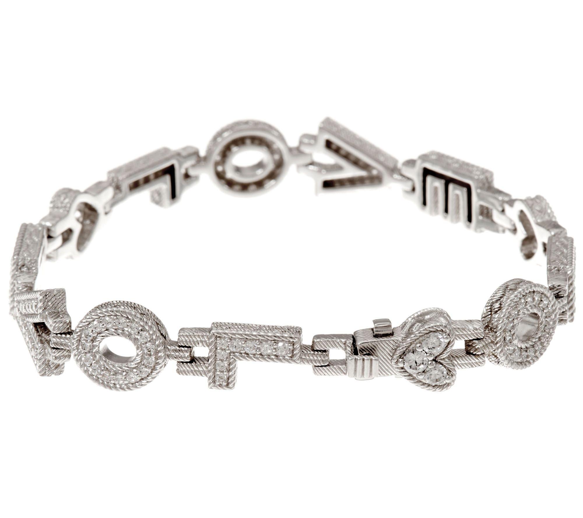 Silvernshine Jewels 1.70 Carat D/VVS1 Diamond Love Design Link Bracelet In 14K White Gold Plated