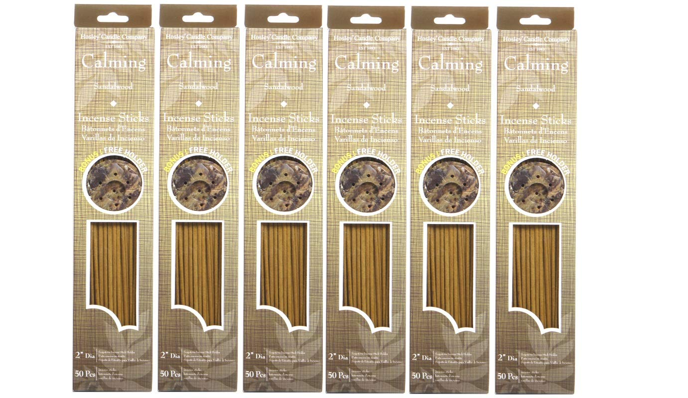 Hosley Sandalwood (Calming) Highly Fragranced with Bonus Holder, 300 Incense Sticks. Infused with Essential Oils. Ideal Gift for Weddings, Parties, Special Events, Spa and Aromatherapy. O9