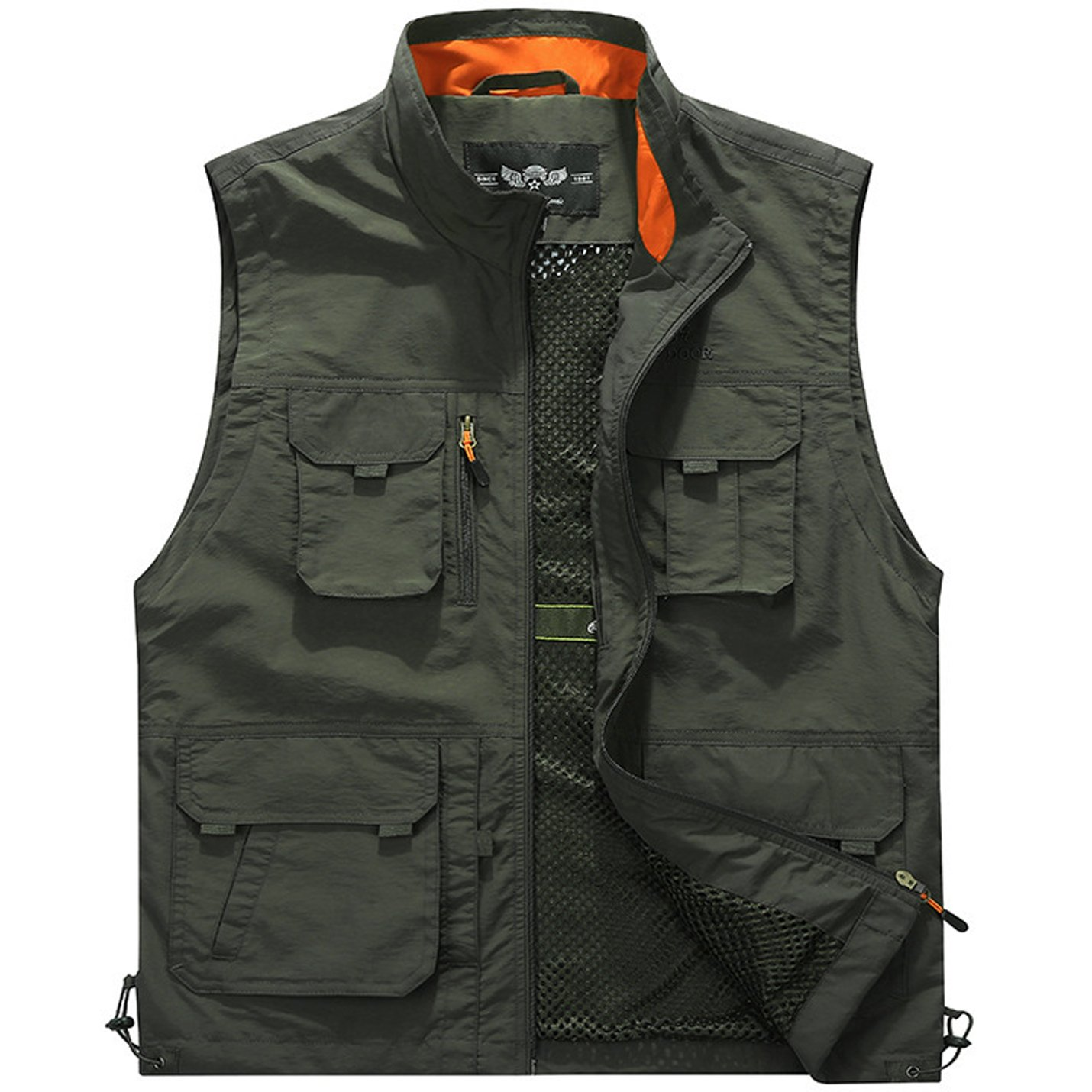 Flygo Men's Utility Outdoor Multi Pockets Fishing Photo Journalist Sports Vest (X-Large, Style 03 Army Green)
