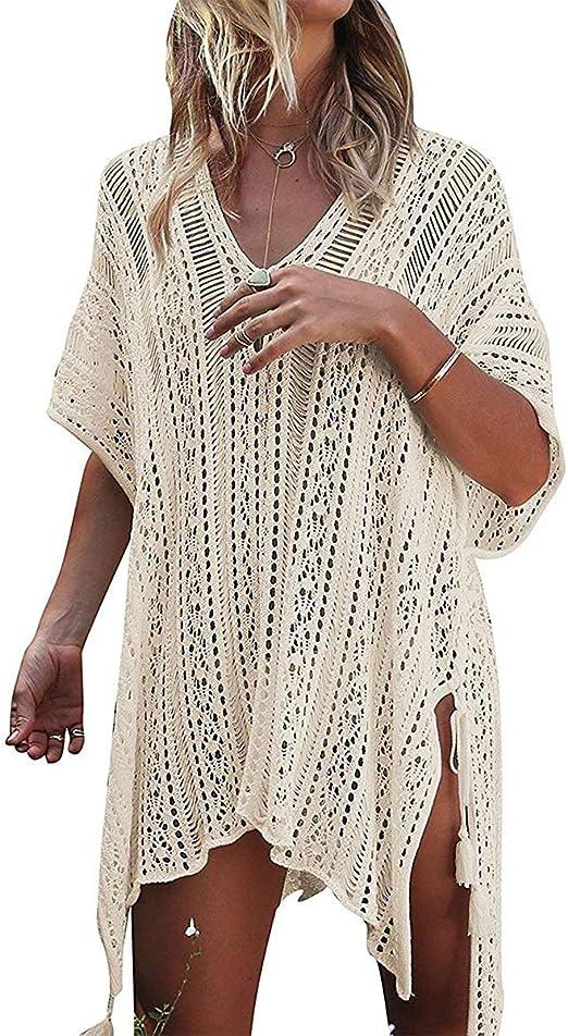 DNFC Strandkleid Damen Strandtunika Kurz Sommer Strand Kleider V-Ausschnitt Strandrock Lockeres Beach Kleid Sch/öne Spitze Strandkleider Bikini Cover Up f/ür Urlaub