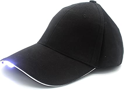 LED Baseball Black Cap with Lights Adjustable Strap Hat Fishing Camping Hiking