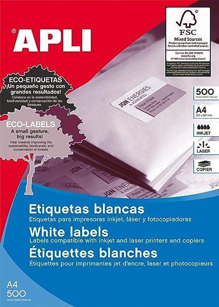 APLI 01785 Color blanco etiqueta de impresora - Etiquetas de ...