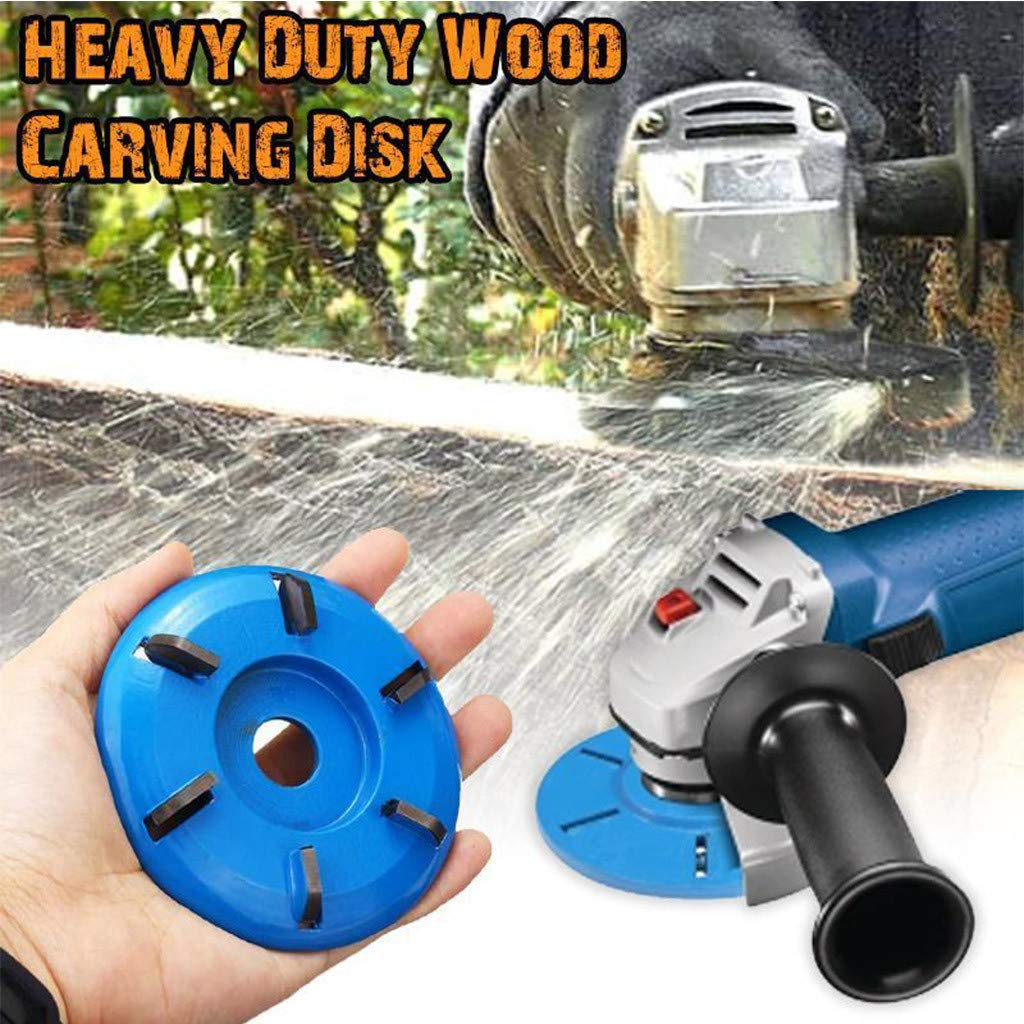 A Fan-Ling 16mm Woodworking Turbo Plane For Aperture Angle Grinder Wood Carving Cutter,NEW 6 Teeth Milling Cutter,Durable Angle Grinder Attachment,Easy to Operate