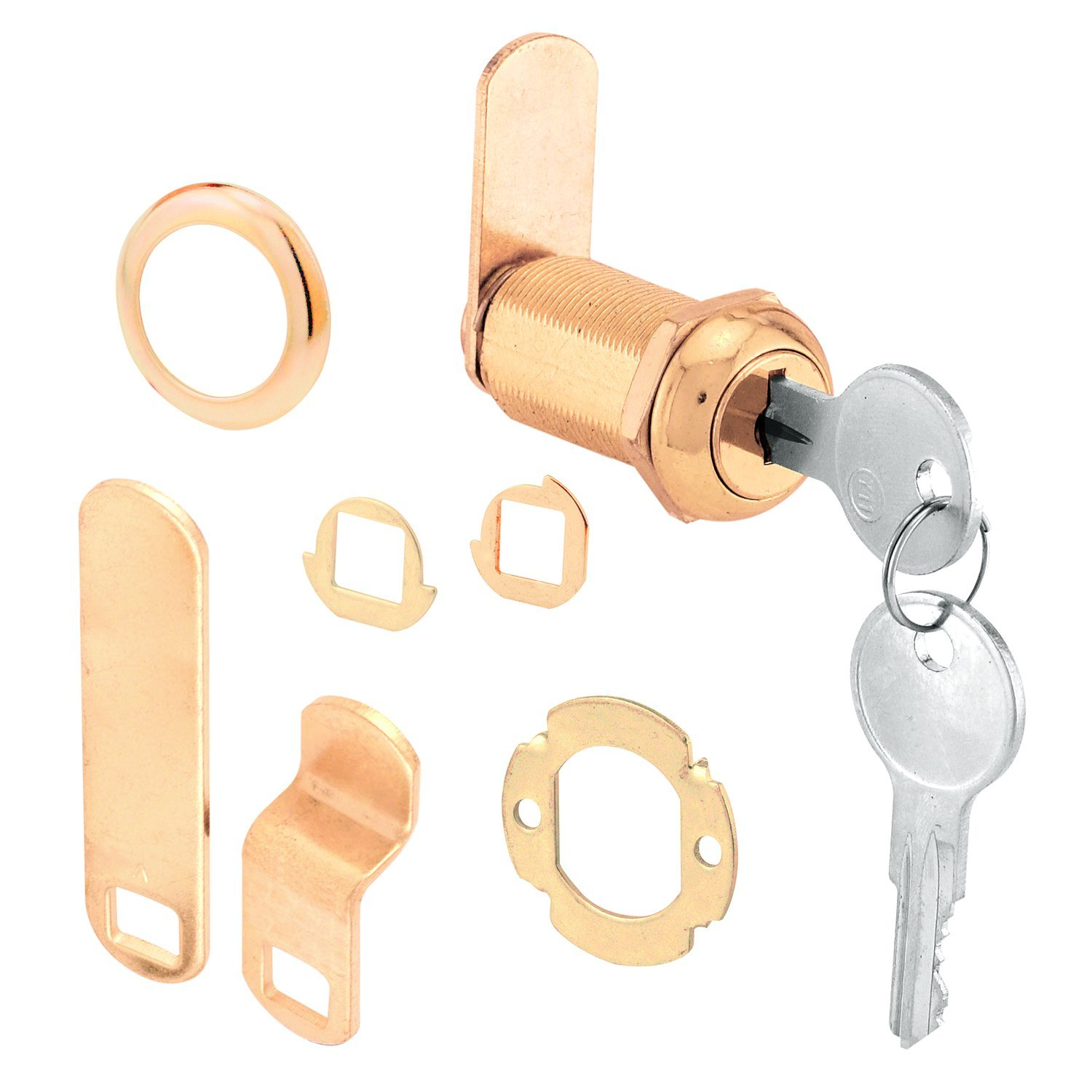 Prime-Line Products U 9953 1-3/8-Inch Cam Lock, Brass Plated Diecast