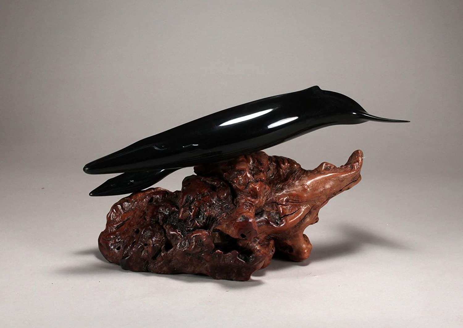 """FIN WHALE /""""Ebonite/"""" Sculpture New Direct from JOHN PERRY 12in long Statue Decor"""