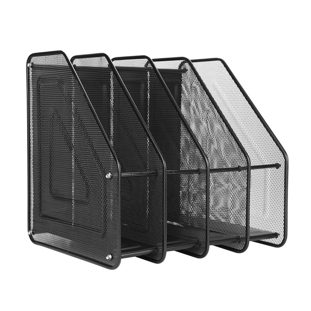 Desktop Mesh File Organizer Basket, Office/Home Portable Vertical Upright 4 Compartment Storage Bins Crate Folder Holder for Office Supplies