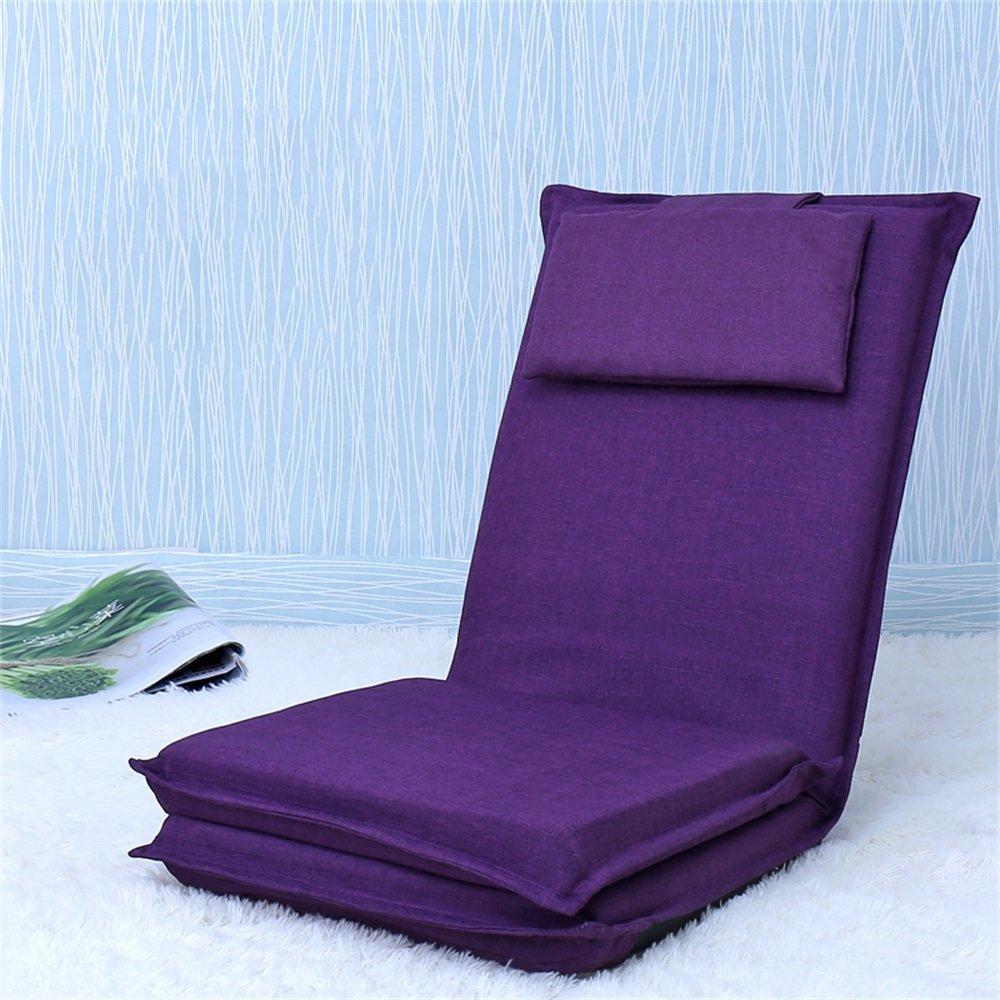 ベンチ 床の椅子のベッドコンピュータの椅子の背もたれの怠惰な単一の小さなソファ折り畳み式の寮の窓のスポンジ床のソファー (A++) (色 : パープル ぱ゜ぷる)  パープル ぱ゜ぷる B07DFHMMVS