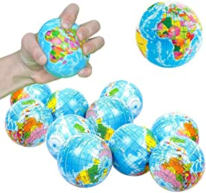 Toy Cubby Hand World Map Squeeze Globe Stress Balls - 3 inches, 12 pieces