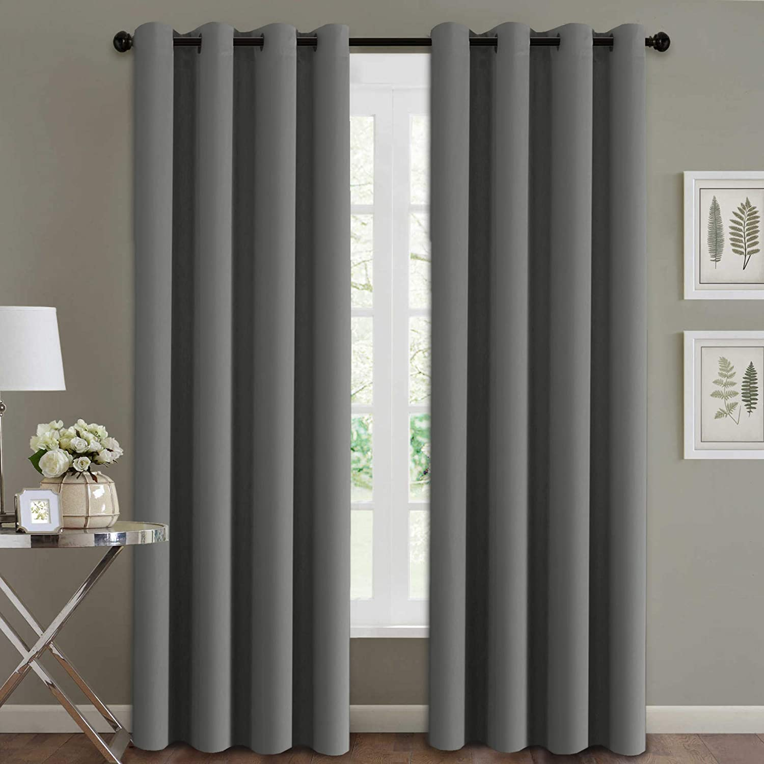 H.VERSAILTEX Blackout Thermal Insulated Room Darkening Winow Treatment Extra Long Curtains/Drapes, Grommet Panels (Set of 2, 52 by 108 - Inch, Grey)