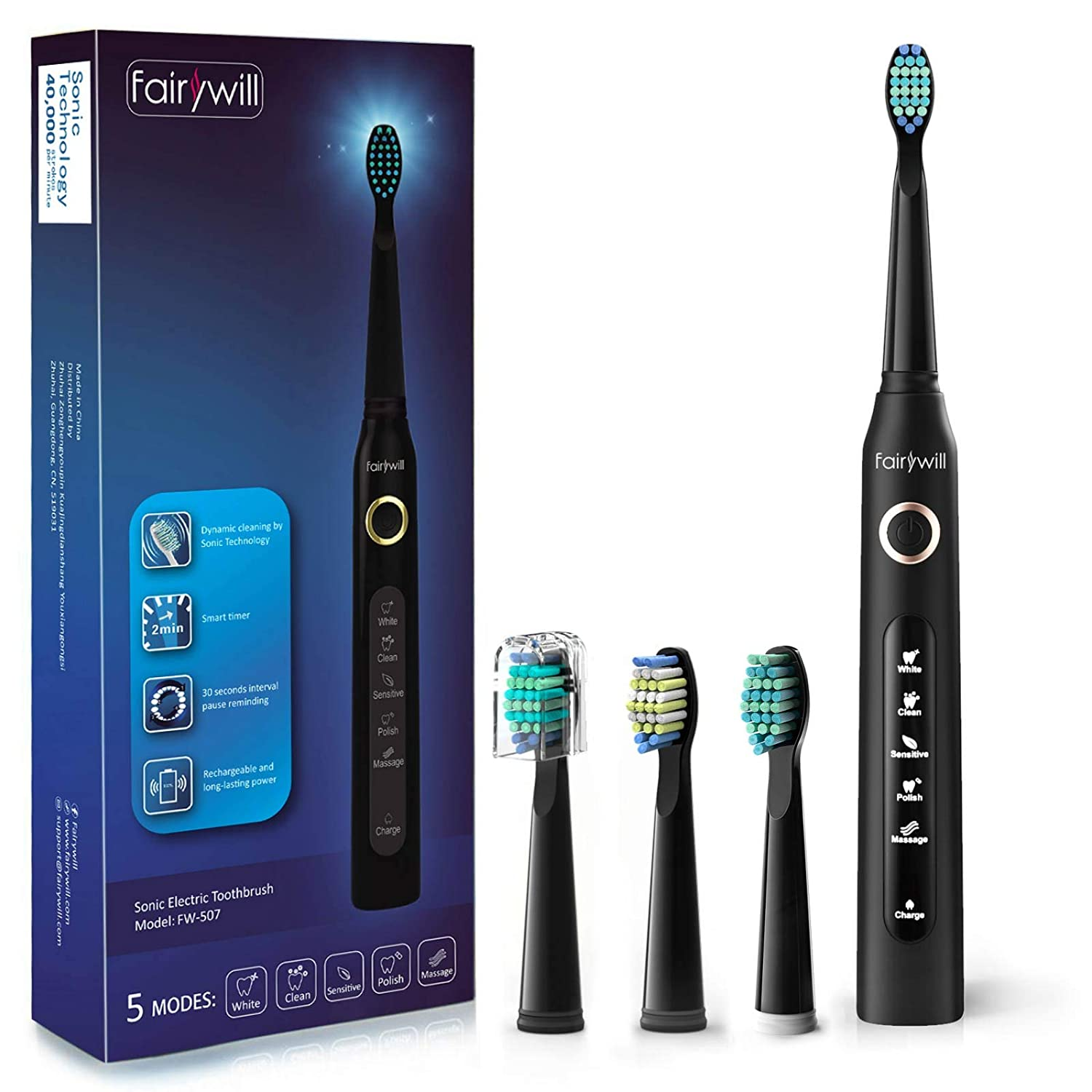 Fairywill Electric Toothbrush Powerful Sonic Cleaning - ADA Accepted Rechargeable Toothbrush with Timer, 5 Modes, 4 Brush Heads, 4 Hr Charge Last 30 Days Whitening Toothbrush for Adults and Kids Black: Beauty