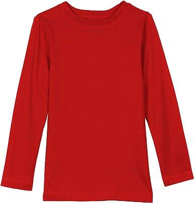 Khanomak Kids Girls Long Sleeve 100/% Cotton Crewneck Plain Basic T-Shirts Tee