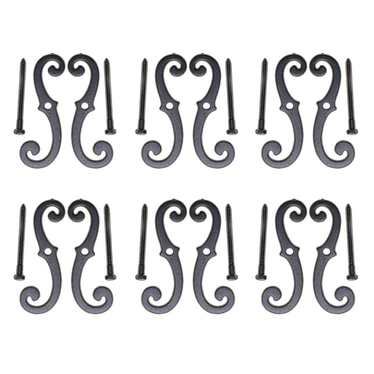 6 Shutter Dog Pairs Set Black Aluminum Scroll 6-1/2'' | Renovator's Supply