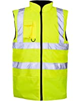 MyShoeStore® Hi Viz Vis Bodywarmer Fleece Lined Reversible High Visibility Reflective Waterproof Workwear Security Safety Wear Warm Gilet Waistcoat Body Warmer Padded Vest Big Size