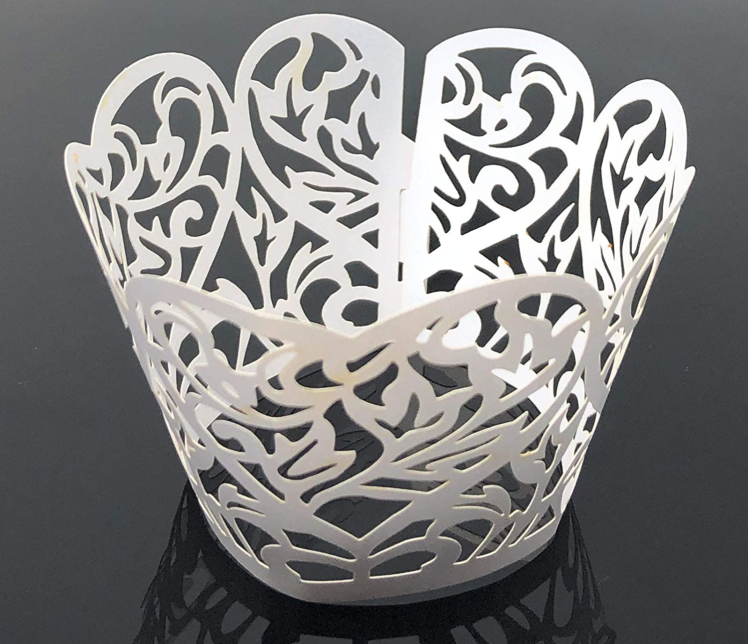 Wedding Party Rusoji 30 Pcs Decorative White Paper Lace Heart Cutout Cupcake Muffin Liner Wrapper Wraps for Birthday